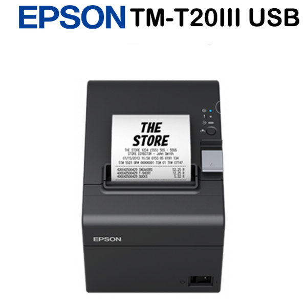 Epson TM-T20III (011) Blokknyomtató  Built-in USB + Serial, EU, Black, Drawer kick-out, Partial Cut